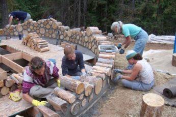 Строители решили использовать вместо кирпича обычные дрова