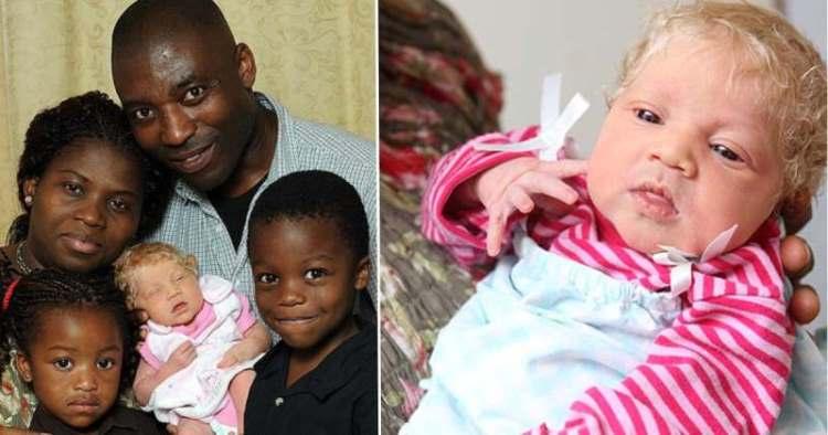 У темнокожей пары родилась блондинка с голубыми глазами, прошло 10 лет
